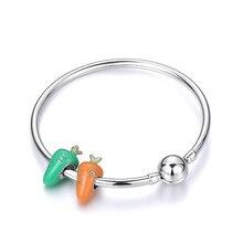 Fashion 925 Sterling Silver Bracelets & Bangles DIY Pan Jewelry Cute Orange Green Carrot Bead Charm For Women