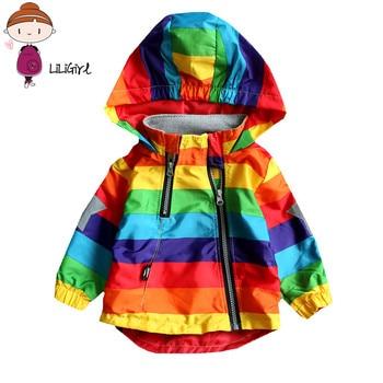 赤ちゃんの女の子ジャケット男の子フード付きコート日焼け止め服レインボーストライプジャケット男の子ロングスリーブ春と秋子供服