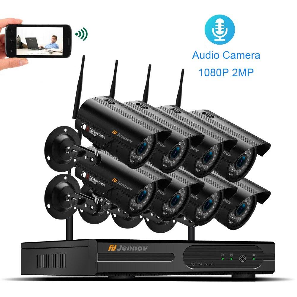 Wireless Sistema di Telecamere di Sicurezza del CCTV di Wifi 1080 p 2MP Casa di Video Sorveglianza Esterna Audio Record NVR Con Ip di Visione Notturna macchina fotografica
