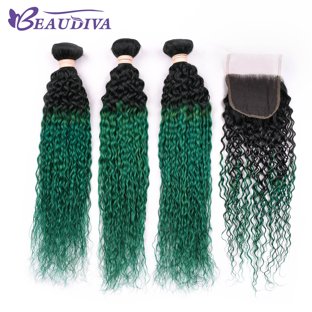 Luxediva Hair Bundles With Closure Brazilian Kinky Curly Human Hair Weave Non Remy Hair Extensions Bundles With Closure TB/Green