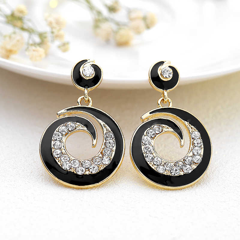 Bohemian Handmade Statement Rhinestone Earrings For Women Round Crystal Stud Earrings Vintage Wedding Party Bridal Fine Jewelry