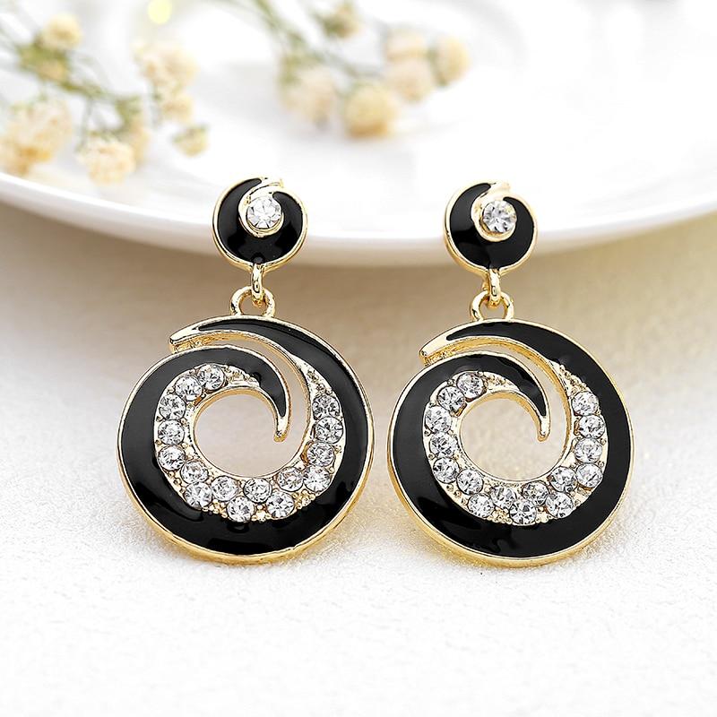 Bohemian Handmade Statement Rhinestone Earrings For Women Round Crystal Stud Earrings Vintage Wedding Party Bridal Fine Jewelry
