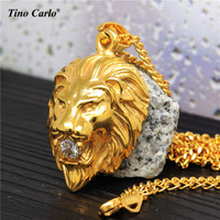 5MM Rhinestone Lion Head Necklace 316L Steel HipHop Lion Face Necklace Club DJ Dancer Luxury Necklace