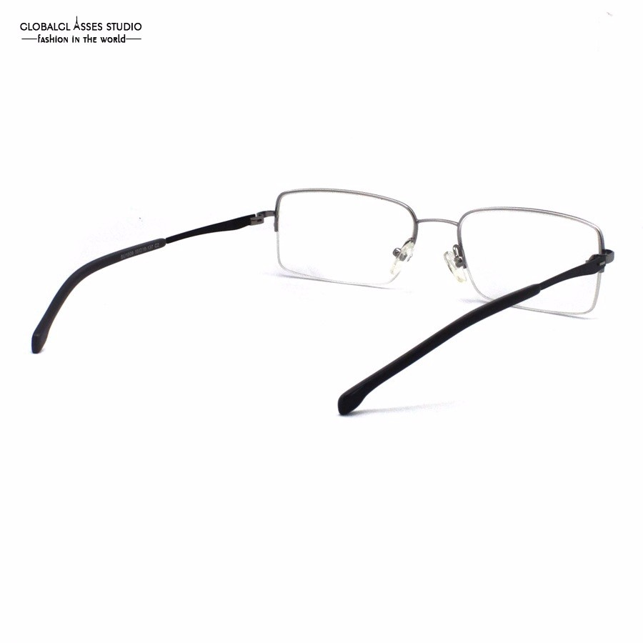 75b2ff38e0 Mature Half Rim Metal Glasses Frame Silver Frame Slim Acetate Black ...
