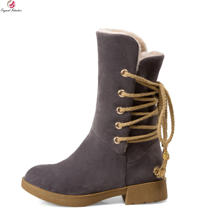 Original Intention Women Mid-Calf Snow Boots Round Toe Square Heels Boots Black Beige Grey Brown Warm Shoes Woman US Size 4-10.5 цены онлайн