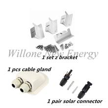 Willone Free Shipping 1 set Z Style Solar Panel Brackets Stainless Steel Solar Panel Mounting Brackets Sets For RV Boat Off Grid