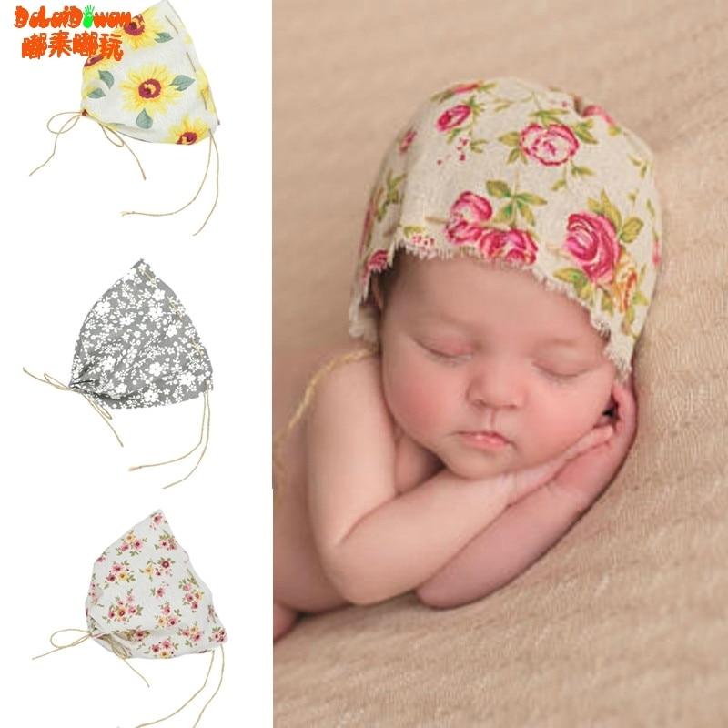 Vintage Baby Boy Girl Linen Floral Hat Cap Newborn Beanie
