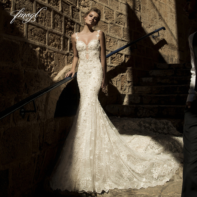Fmogl Beaded Lace Mermaid Wedding Dress 2019 Romantic Sweetheart Spaghetti Straps Sexy Backless Vestido De Noiva Plus Size