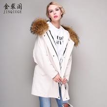 JINQIUGE real fur coat winter warm jacket lady corduroy large real raccoon fur collar natural lamb fur lining coat detachable
