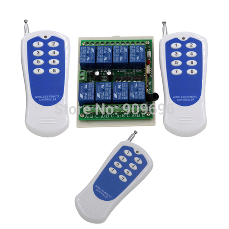 New DC12V 8CH RF Wireless Remote Control Switch system /transmitter and receiver/RF controller and remote control 12v 8ch rf wireless remote control switch system 2transmitter and 8receiver rf 1ch controller and remote control 4002