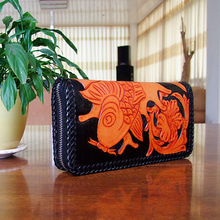 OLG.YAT leather handmade wallet men or women purse retro fish Vegetable tanned leather hangbag long zipper bag pure cowhide