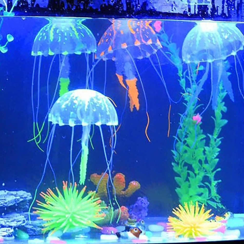 New グローイング効果人工シリコーンビビッドクラゲ魚水槽の水槽の装飾ミニ潜水艦水中装飾品