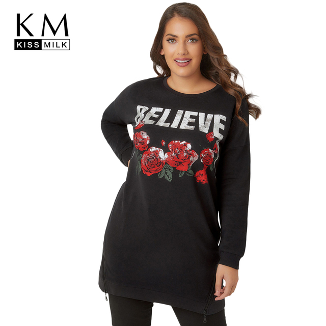 Kissmilk 2018 Plus Size Floral Printed Women Dress Large Size Zipper Long  Sleeve Female Clothing Big Size Lady Straight Dress bc0fb2468535