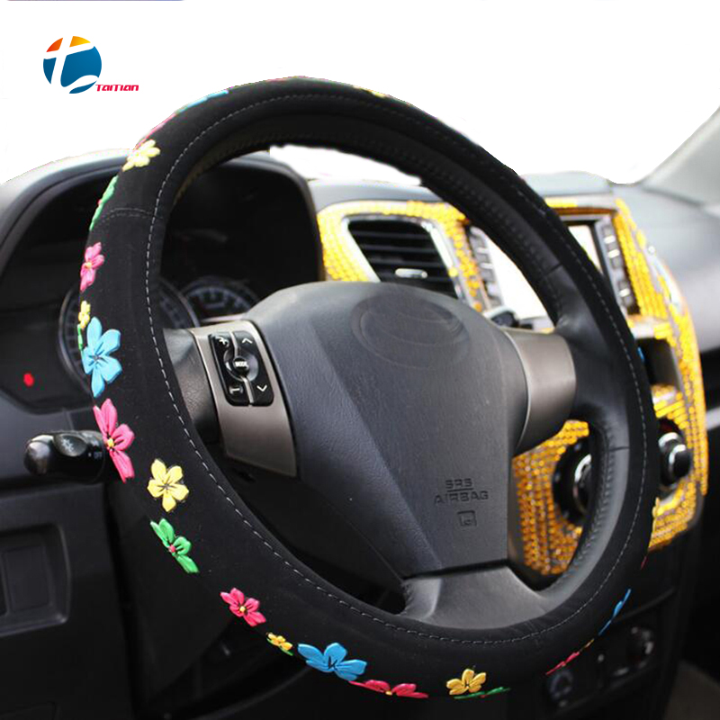 Taitian Four Seasons 3D Printing Flannelette Steering Wheel Cover Beetle Flower Anti-Slip Automotive Accessories Covers