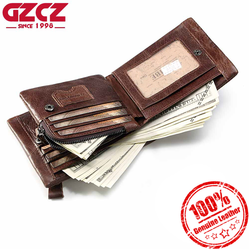 GZCZ Men Wallet Genuine Leather Coin Purse Large Capacity For Money Bag Small High Quality Wallets Male Clutch Bags Card Holder gzcz genuine leather men wallet fashion coin purse card holder small wallet men portomonee male clutch zipper clamp for money