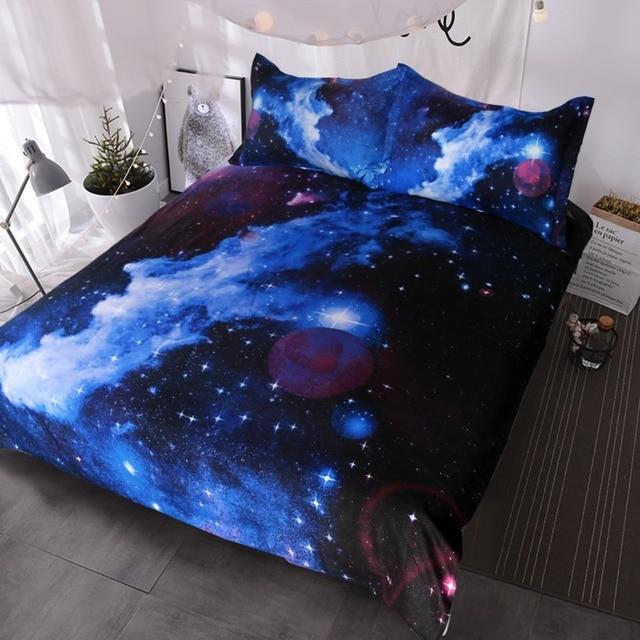 Funda Nordica Espacio.Blessliving Nebulosa Ropa De Cama Conjunto 3d Galaxy Edredon Funda Nordica De 3 Pieza Ninos Nino Nina Ropa De Cama Azul Purpura Espacio Ropa De Cama