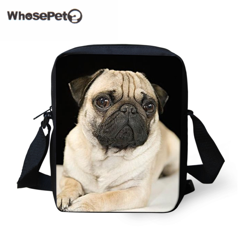 Cute Pug Dog Wallets Girls Crossbody Purse Messenger Bag School Shoulder Satchel