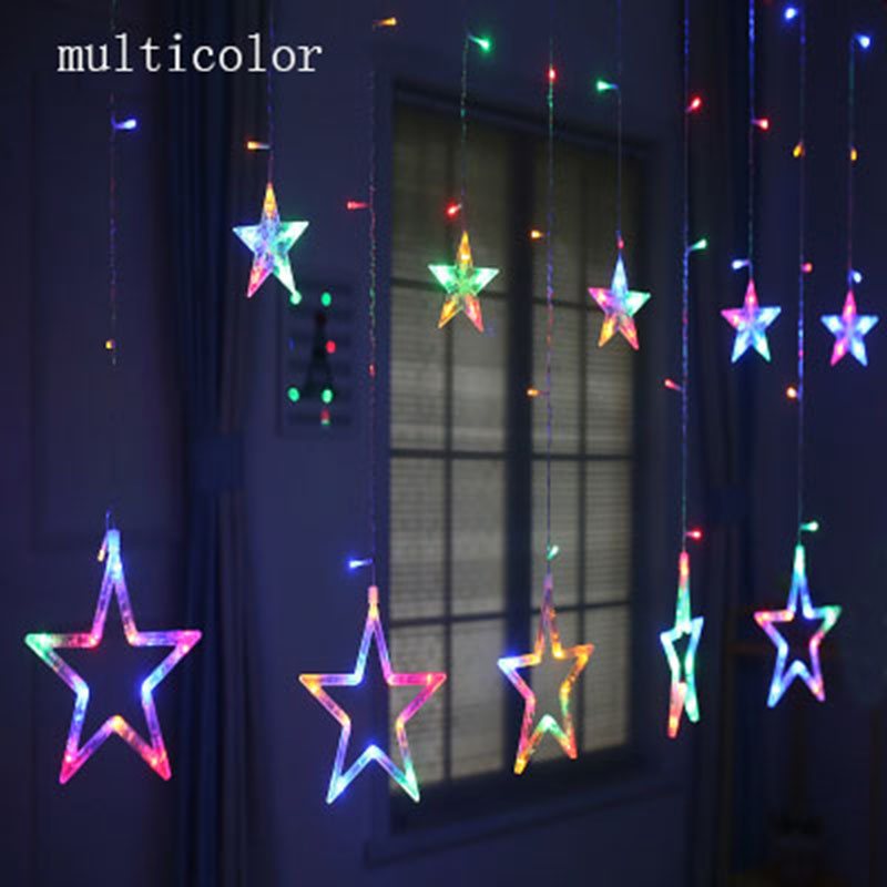 220V EU Plug LED Star Light Christmas lights Indoor/Outdoor Decorative Love Curtains Lamp For Holiday Wedding Party lighting sitemap 104 xml