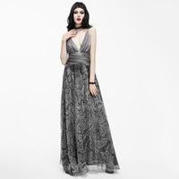 EVA LADY Punk Sexy Deep V Silk Women Dress Steampunk Gothic Fashion Party Prom Sleeveless Dresses