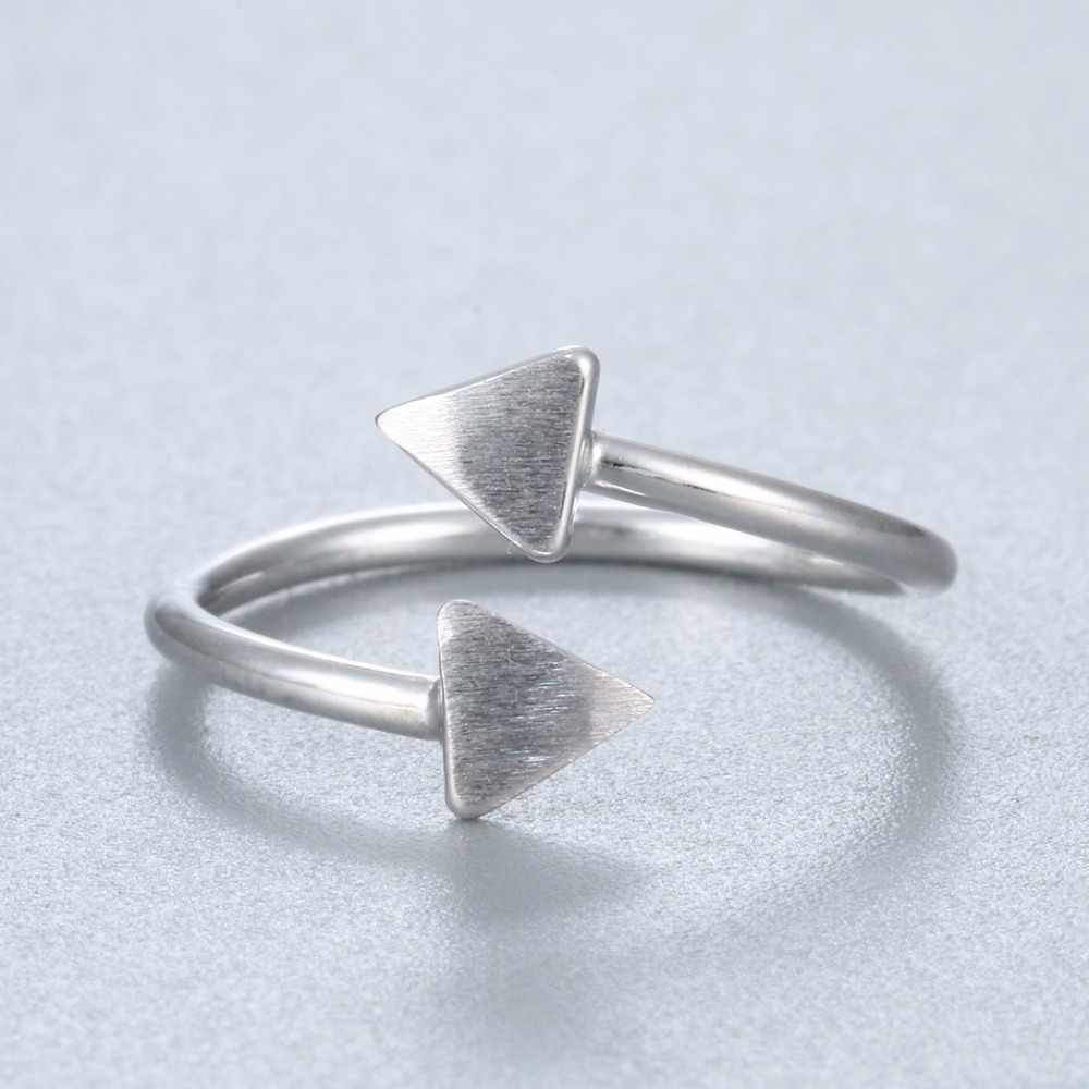 Геометрические треугольные кольца из стерлингового серебра 925 пробы, двойное треугольное кольцо для женщин, девушек, вечерние, милый подарок, бренд Kinitial