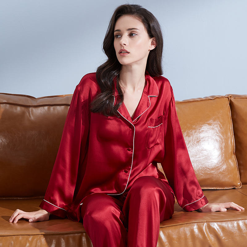 Women 19 m/m Real Silk Pajamas Set Brand 2019 Solid Pyjama Set Femme Sleep Lounge Bedgown 100% Hangzhou Silk Sleepwear Pijama