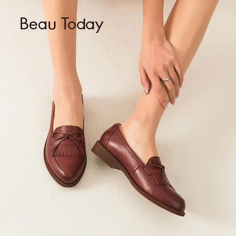 BeauToday Women Loafers Genuine Cow Leather Butterfly knot Fringes Pointed Toe Top Quality Slip On Handmade