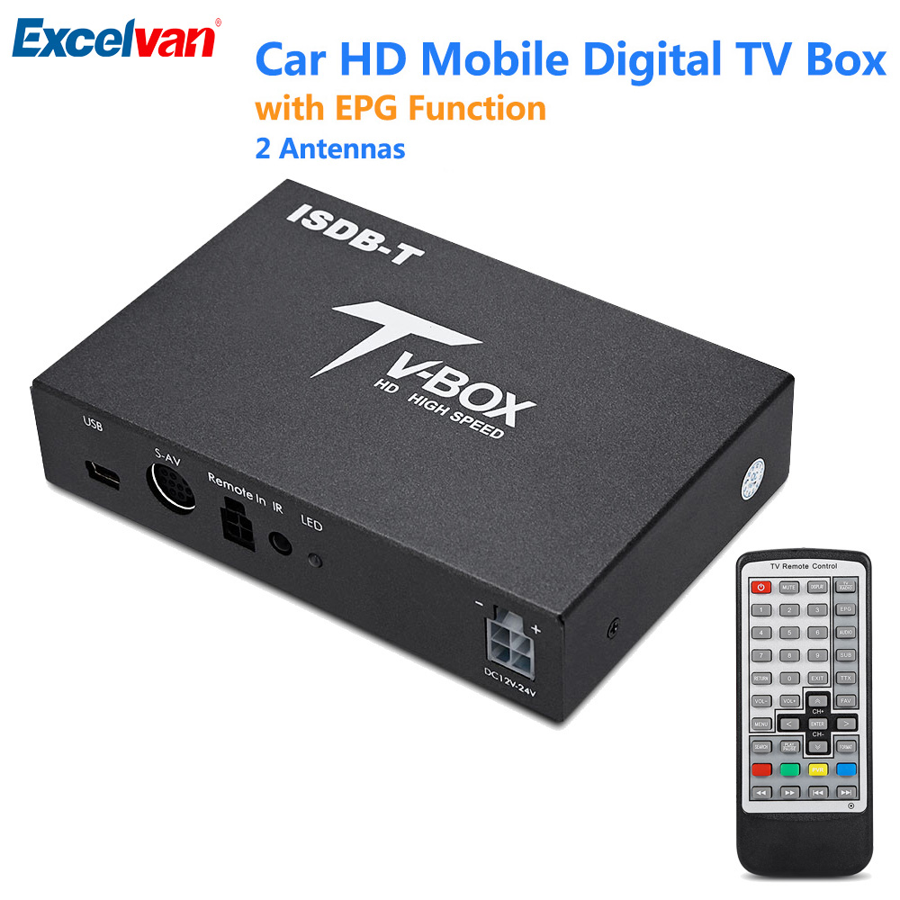 лучшая цена New Arrival T518 Car TV Box ISDB-T Mobile Digital Receiver EPG Function HD UHF 2 Antennas Support USB HDMI AV-Out TV/Radio