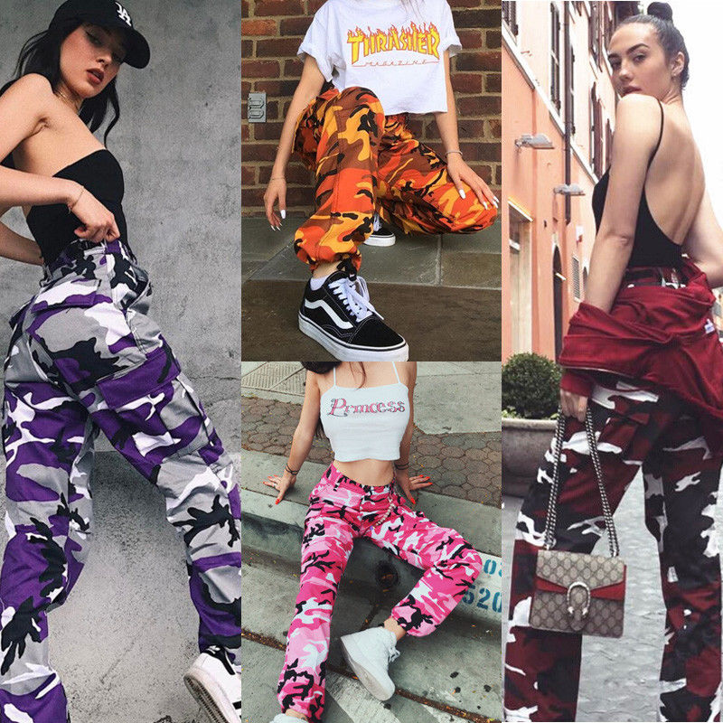 Autumn Women Camo Cargo Trousers Pants Casual Military Army Combat Camouflage Jeans Ladies Pencil Pants Pink Red Gray