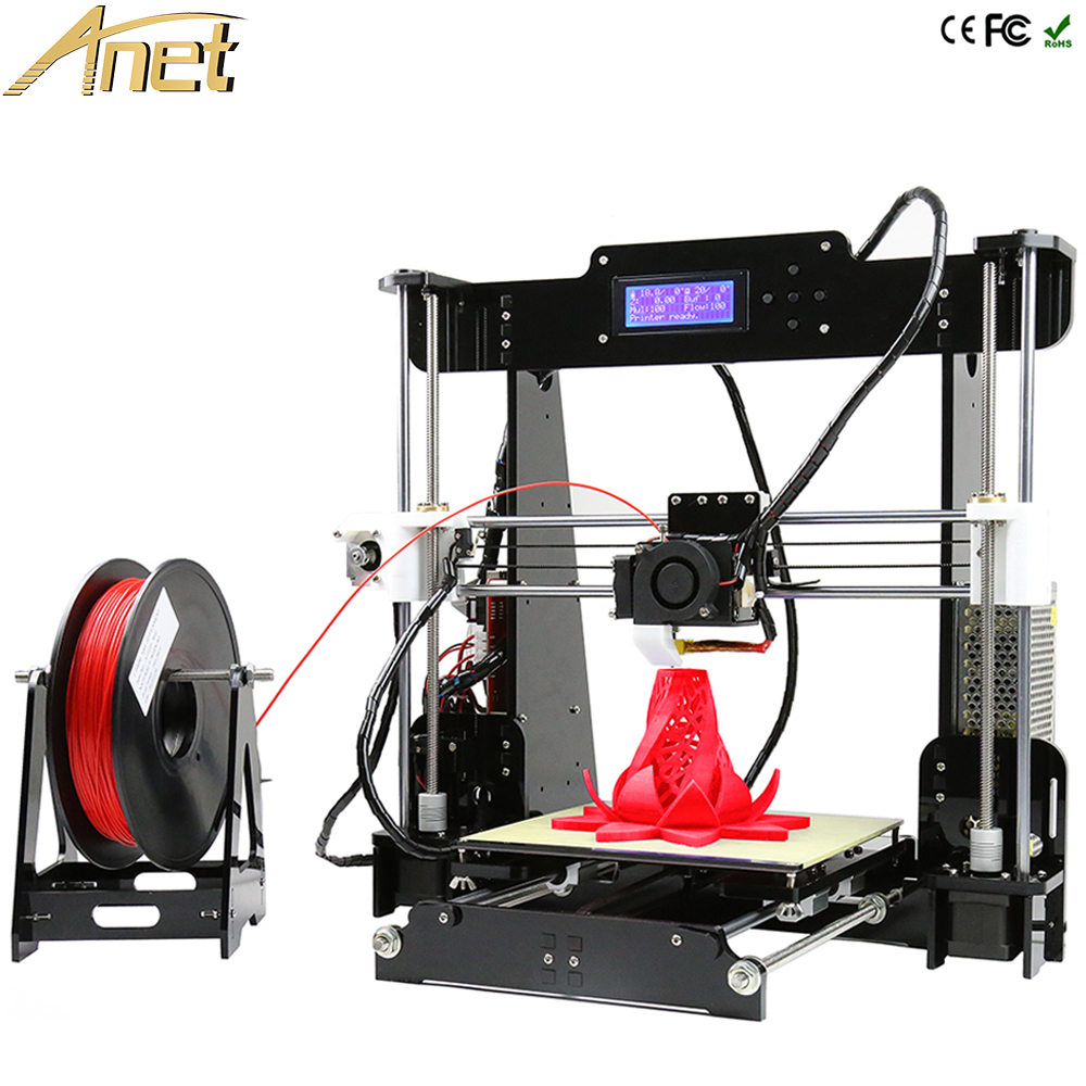 High Quality Full Acrylic Anet A8 Precision Reprap Prusa i3 DIY 3D Printer Kit With Free 10m Filament 8GB SD card LCD As Gift newest high quality precision reprap prusa i3 3d printer diy kit with 25m filament 8gb sd card and lcd free