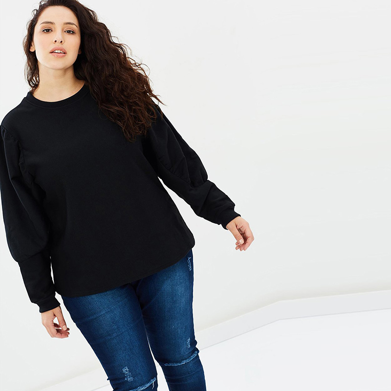 3465d2e9dc Kissmilk 2018 Plus Size Solid Black Women Sweatshirts Big Size O Neck Long  Sleeve Female Large Size Casual Lady Pullovers -in Hoodies   Sweatshirts  from ...