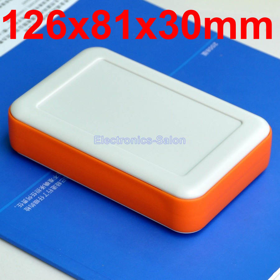 HQ Hand-Held Project Enclosure Box Case, White-Orange, 126 X 81 X 30mm.