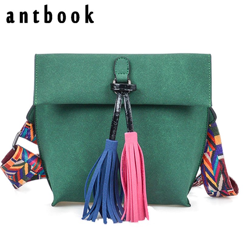 Antbook Vintage Lady's Bag Pu Leather Tassel Women Messenger Bag Solid Shoulder Bag Designer High Quality Summer Women Handbags