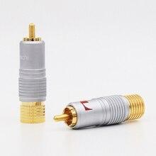 8 Uds. Nakamichi 24K chapado en oro RCA Plug conector de Cable de Audio