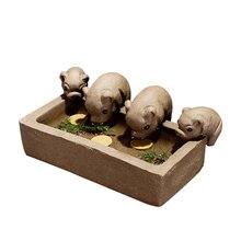 Yixing секция, глина чай ПЭТ фиолетовый; песок керамический чай играть для детской площадки воды четыре свиньи Чай домашних животных полная одежда и еда