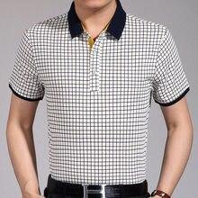 e62d226b39 Nova camisa pólo verão homens camisas polos de manga curta roupas vestido  xadrez slim fit mens