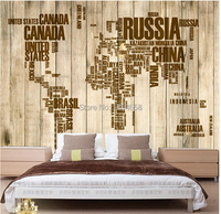 Free Shipping Custom Vintage Wooden Alphabet English World Map Large Mural Wallpaper The Living Room TV
