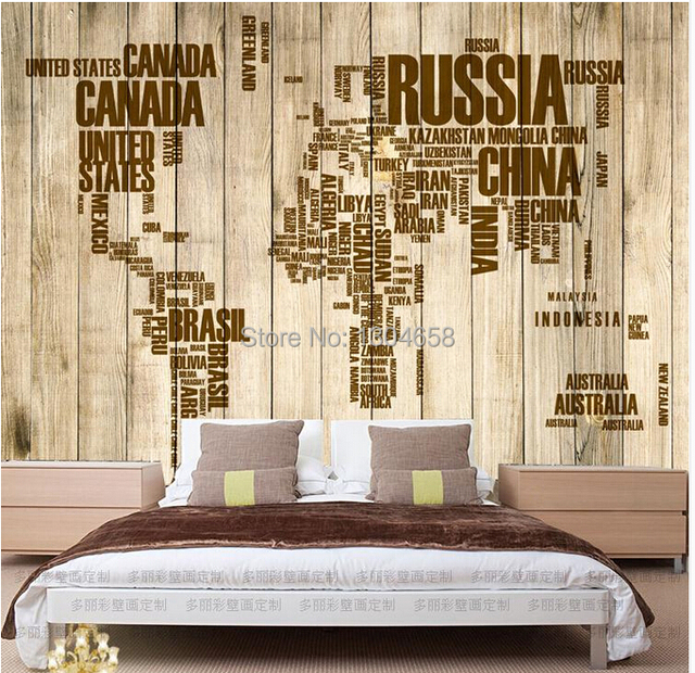 Free shipping custom vintage wooden alphabet english world map free shipping custom vintage wooden alphabet english world map large mural wallpaper the living room tv gumiabroncs Image collections