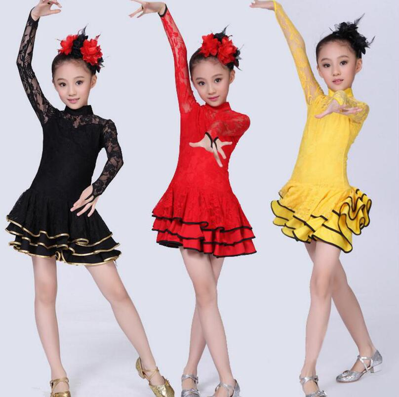 2019 Lace Newest Sexy Ballroom Dresses Tango Salsa Latin Dance Dress Children Red Black Lace Dress For Girls Long Sleeve