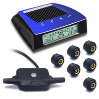 CARCHET Wireless RV Solar Tire Pressure Monitor System TPMS + 6 External Sensors Car Truck RV Trailar TPMS 6 sensors LCD Display