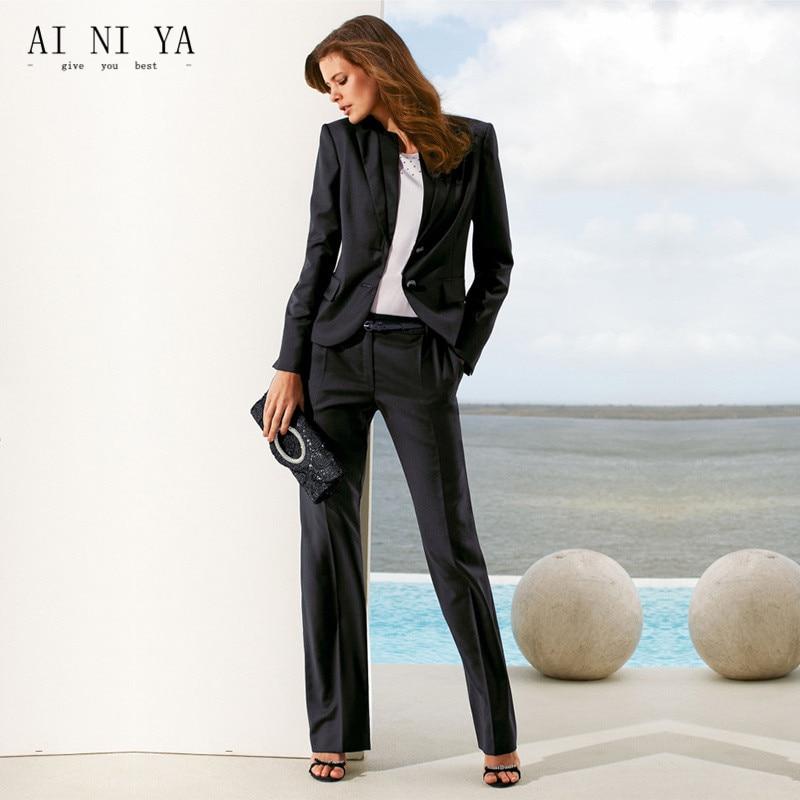 Black Women Pant Suits Casual Office Uniform Business