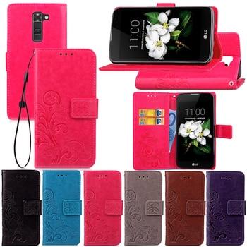 56d75858942 De Lujo Funda de cuero para LG K7 Flip teléfono cubierta de ranuras de  tarjeta cubierta para LG K7 X210DS X210 homenaje 5 LS675 K 7 LGK7 casos