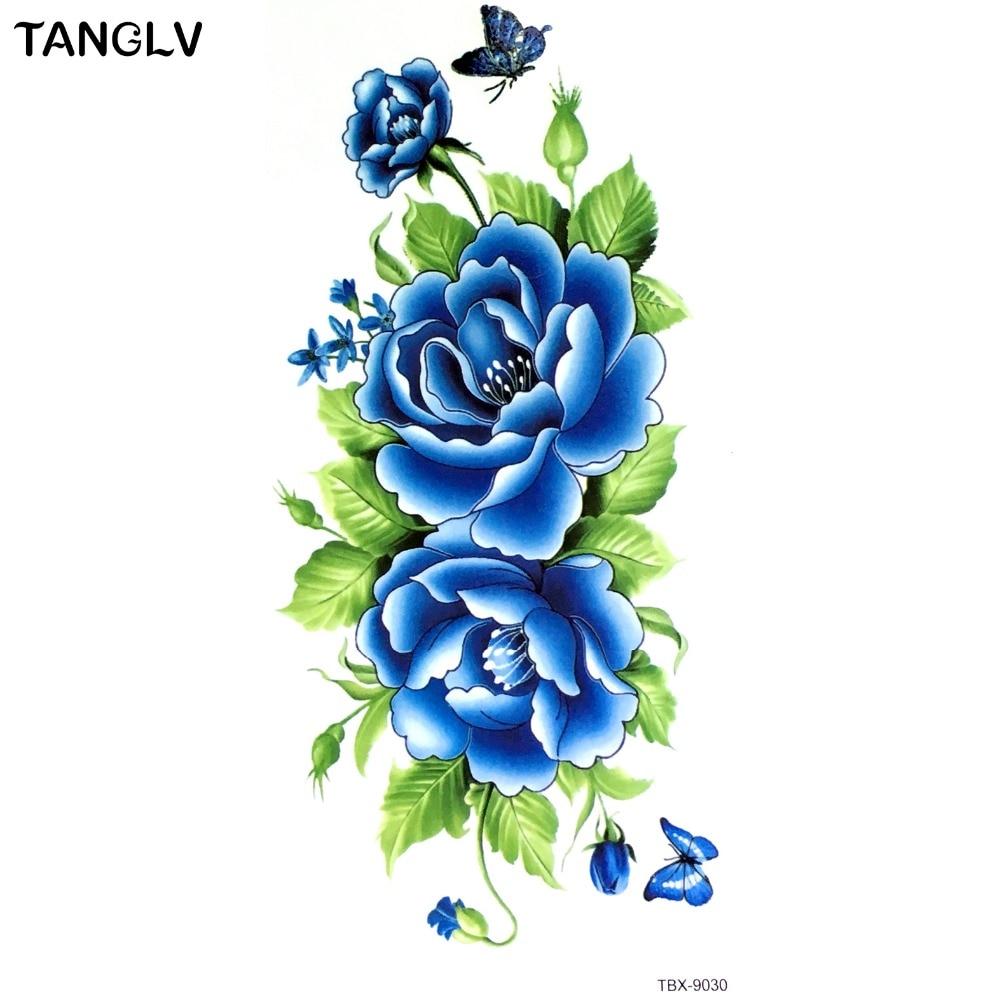 19x12cm 3d Tattoo Temporary Tattoos Arm Blue Flower Tattoos 3d