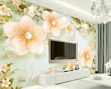 beibehang High wall papers home decor quality personality beautiful 3D retro fresh plum European TV background wallpaper behang