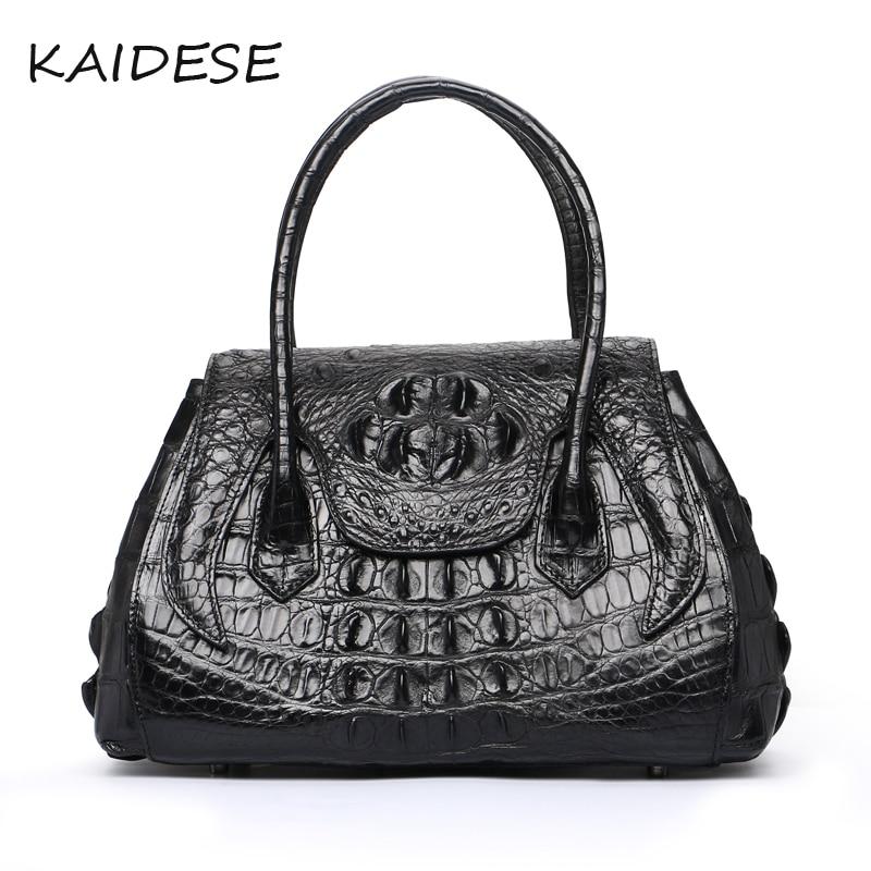 KAIDESE European and American style leather handbag with crocodile leather handbag with multi-function leather handbag multi zips crocodile embossed handbag