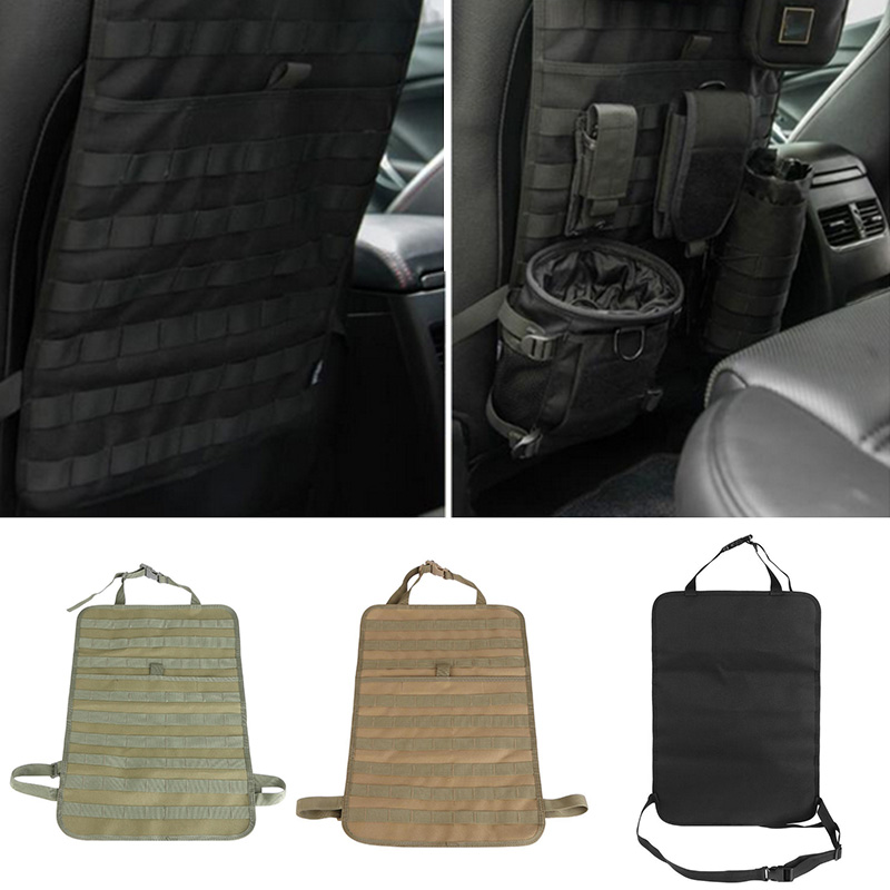 Outdoor Tactical Car Seat Organizer 55*37cm 600D Nylon Multi-Pocket Car Seat Cover Protector For Camping Hiking vehicle car accessories auto car seat cover back protector for children kick mat mud clean bk