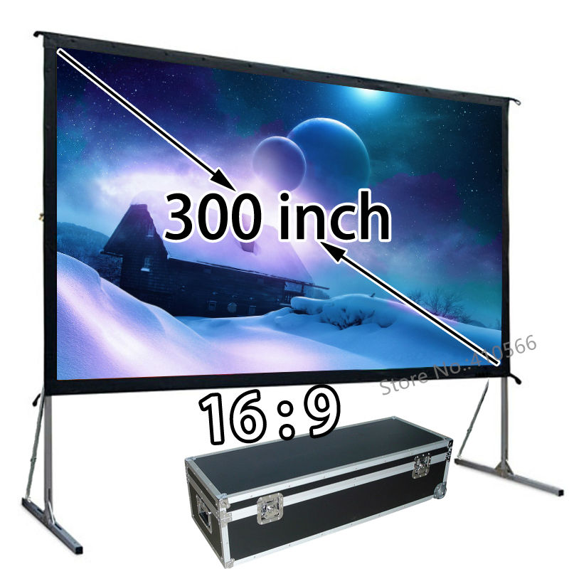 HD Projector Projection Screen 300inch 16:9 Format Outdoor Fast Folding Frame Screens For Camping Music Party 92 16 9 aluminum in ceiling recessed electric projector screen 4k ultra hd ready hdtv in ceiling electric projector screen