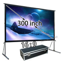 HD Projector Projection Screen 300inch 16:9 Format Outdoor Fast Folding Frame Screens For Camping Music Party