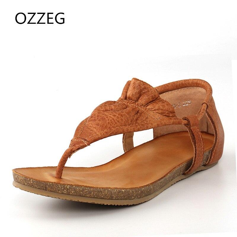 Női szandál nyári cipő valódi bőr gladiátor szandál női - Női cipő