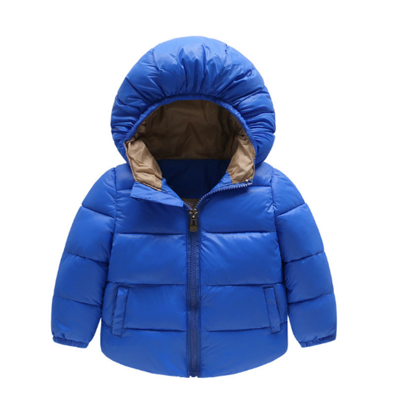 Girls Clothing Down & Parkas 2017 Winter Solid Cotton Zipper Hooded Kids Boys Jacket Casual Style Children Outwear Coats 3dp020 2016 winter thin down jacket fashion girls boys cotton hooded coat children s jacket outwear kids casual striped outwear 16a12