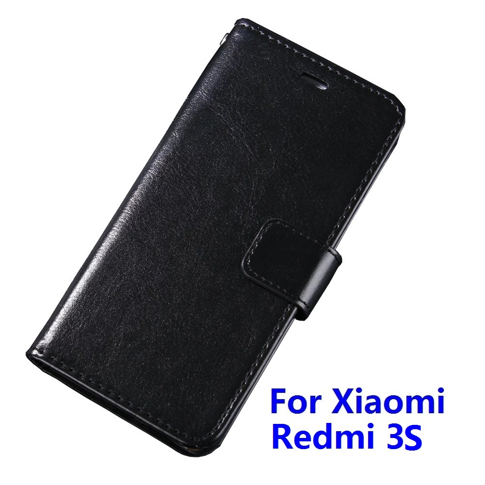 Case For Xiaomi Redmi 3S Luxury Wallet PU Leather Case Stand Flip Card Hold Phone Cover Bags For Redmi 3S With Plastic Holder